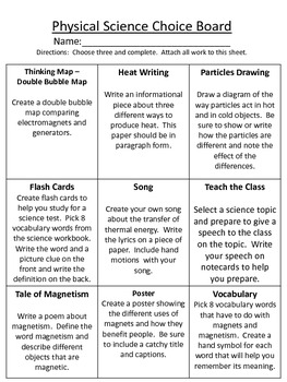 Third Grade Science Choice Boards Common Core