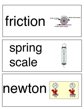 Third Grade Science Force and Motion Vocabulary