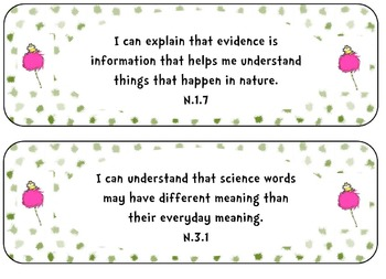 """Third Grade Science Standards """"I Can Statements"""" Seuss Theme"""