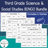 Third Grade Science and Social Studies Bingo Game Bundle