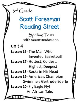 Scott Foresman Reading Street 3rd Grade U-4  Spelling Test w/ accommodations