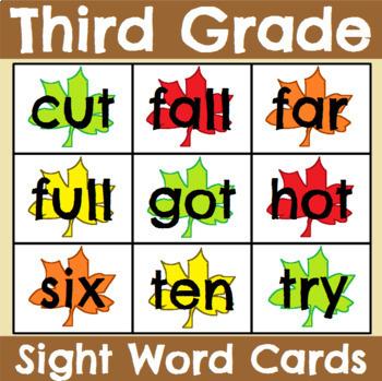 Third Grade Seasonal Sight Word Cards Bundle