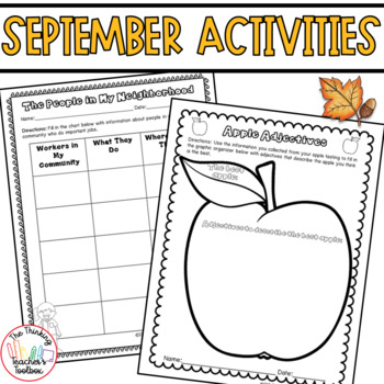 Third Grade September Activities CCSS Aligned: Apples, Labor Day, Leaves