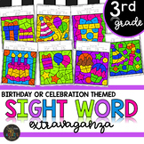 Third Grade Sight Words Color by Code Birthday Theme Celebration Activities