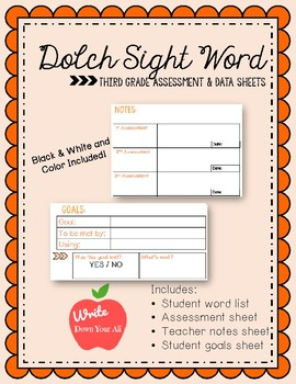 Third Grade Sight Word Assessment and Data Sheets