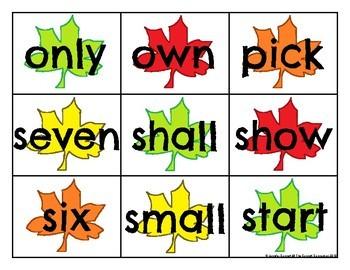 Third Grade Sight Word Cards Autumn