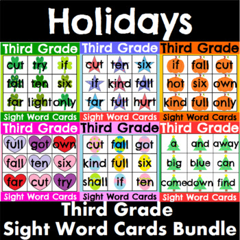 Third Grade Sight Word Cards Holiday Bundle