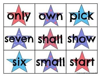Third Grade Sight Word Cards Patriotic Theme