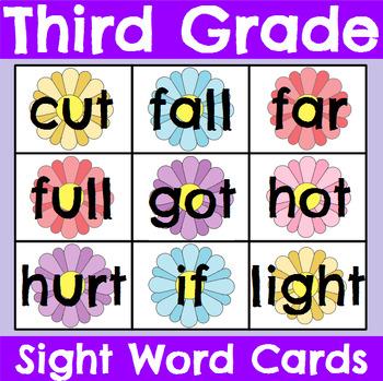 Third Grade Sight Word Cards Spring