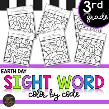 Earth Day Third Grade Sight Words Color by Code