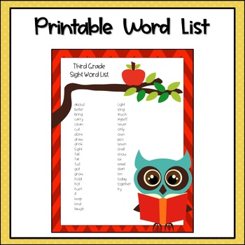 Third Grade Sight Word List and Flashcards