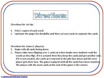 Third Grade Sight Word Memory