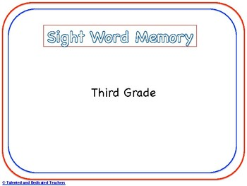 Third Grade Sight Word Memory