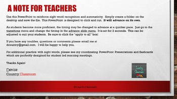 Third Grade Sight Word PowerPoint: Set 2