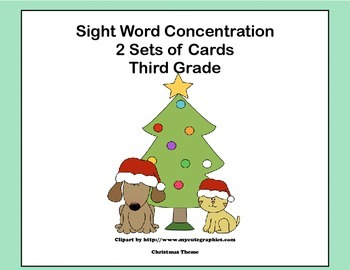 Third Grade Sight Word Printable Concentration Game-Christmas Theme