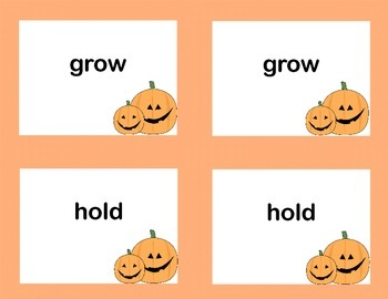 Third Grade Sight Word Printable Concentration Game-Halloween Theme