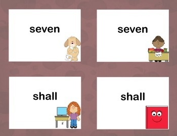 Third Grade Sight Word Printable Concentration Game-School Days Theme