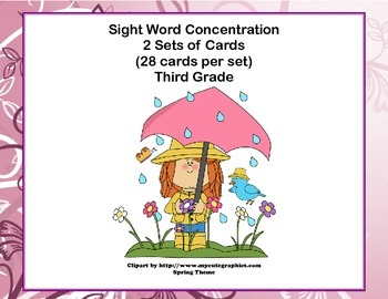 Third Grade Sight Word Printable Concentration Game-Spring Theme