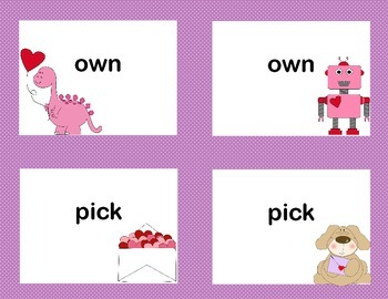 Third Grade Sight Word Printable Concentration Game-Valentine's Day Theme