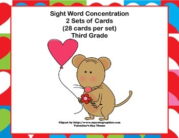 Third Grade Sight Word Printable Concentration Game-Valent
