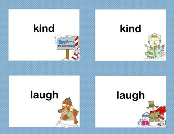 Third Grade Sight Word Printable Concentration Game-Winter Theme