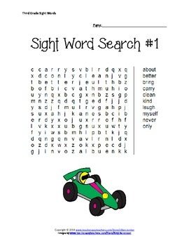 Third Grade Sight Word Searches
