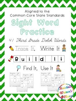 Third Grade Sight Word Work {Trace It, Write It, Build It, Find It, Use It}
