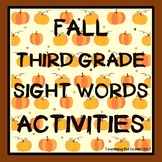 Third Grade Sight Words Activities - Fall Themed