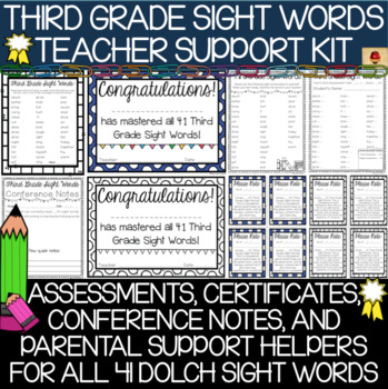 Third Grade Sight Words Assessments and Parental Support Helpers