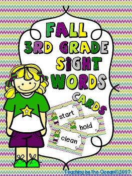 Third Grade Sight Words Cards - Fall Themed