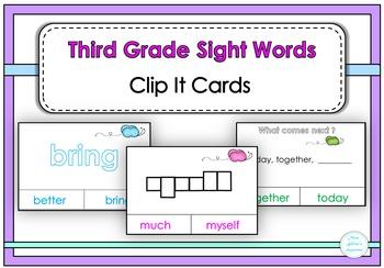 Third Grade Sight Words Clip It Cards