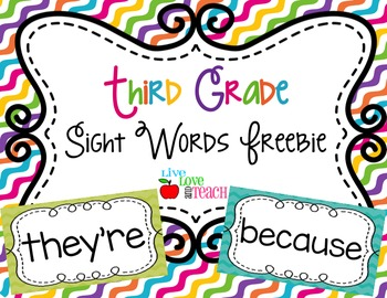 Third Grade Sight Words FREEBIE Summer Pop Collection