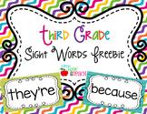 Third Grade Sight Words FREEBIE Summer Pop Collection