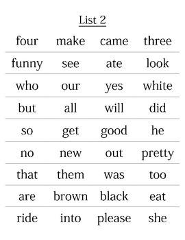 Third Grade Sight Words Lists