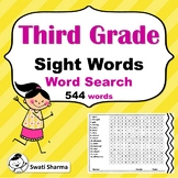 34 Third Grade Sight Words Word Search Worksheets, Vocabulary Activity