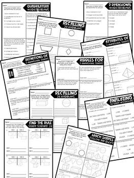 Third Grade Skill Pages Geometry