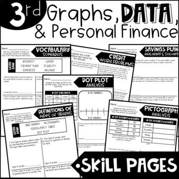 Third Grade Skill Pages Graphs, Data, and Finance