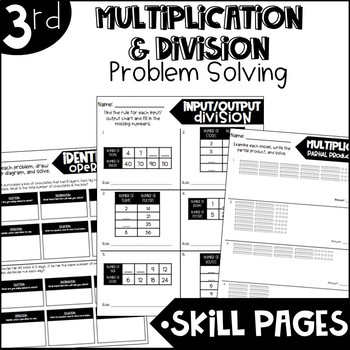 Third Grade Skill Pages Multiplication and Division Problem Solving