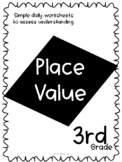 Third Grade Skill Pages for Place Value: Pre and Post Assessment Included