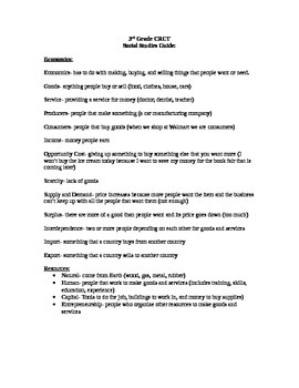 Third Grade Social Studies CRCT Study Guide