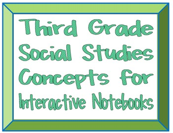 Third Grade Social Studies Concepts for Interactive Notebooks