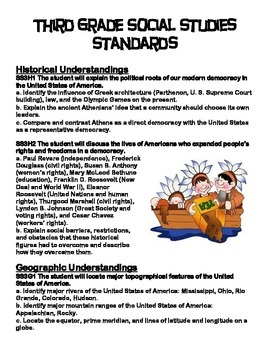 Third Grade Social Studies Standards