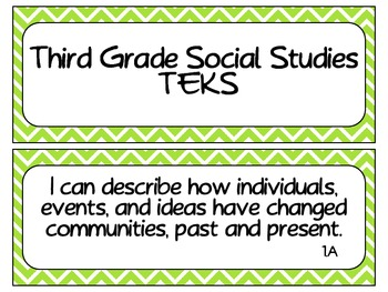 Third Grade Social Studies TEKS ~ Lime Chevron