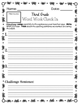 Third Grade Spelling/Word Work Dictation Assessment/Check In