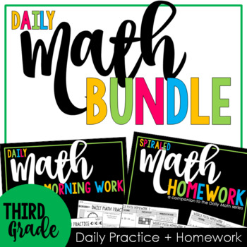 Third Grade Spiral Math Bundle: A Year of Daily Practice w