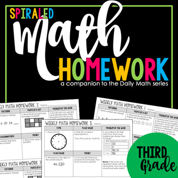 3rd Grade Spiral Review: Weekly Math Homework aligned with Core Standards & TEKS