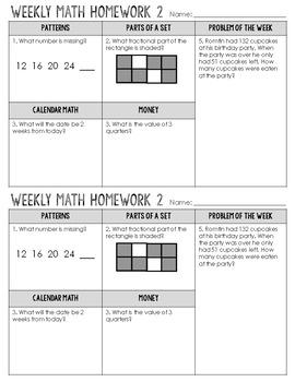 3rd Grade Math Homework Spiral Review