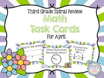 Third Grade Spiral Math Task Cards for April