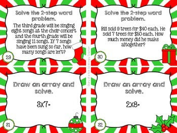 Third Grade Spiral Math Task Cards for December- Color and B&W