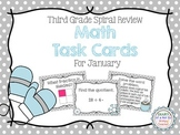 Third Grade Spiral Math Task Cards for January